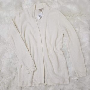 J. Crew Open Front Knit Long Sleeve Cardigan Ivory